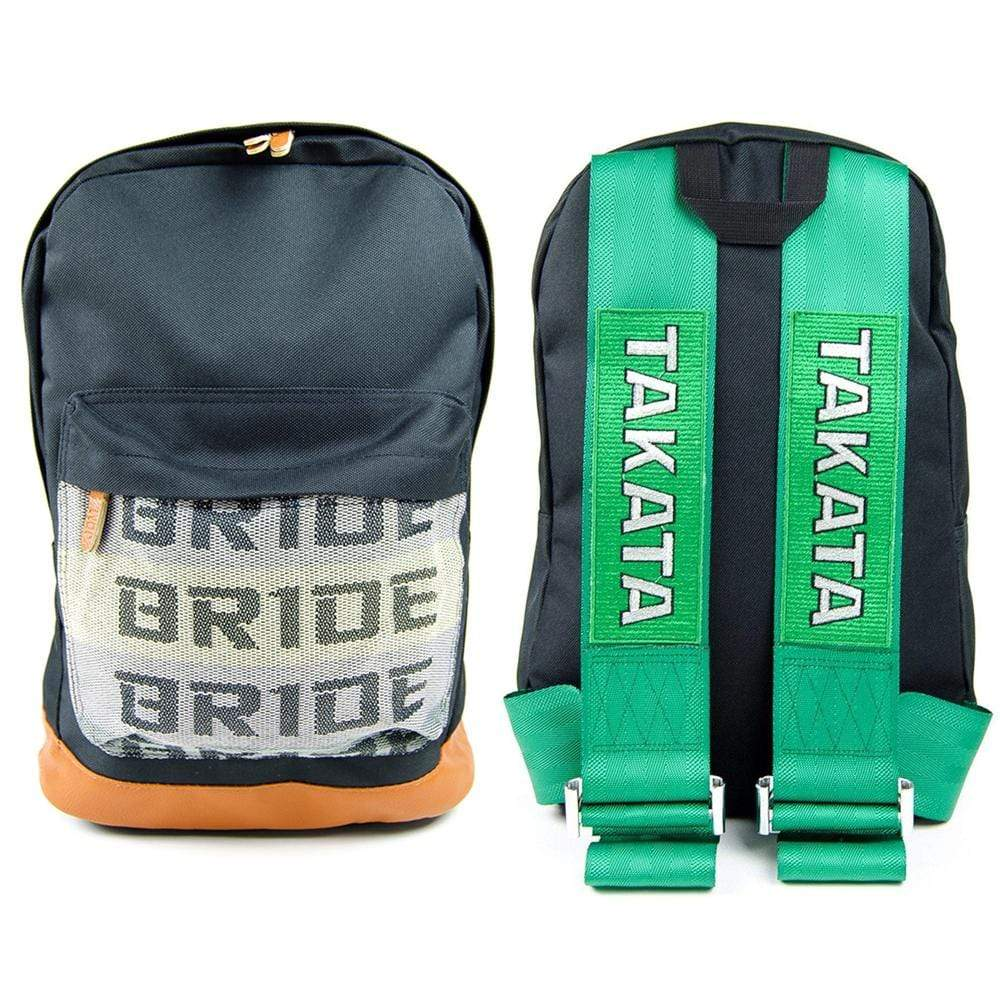 JDM Backpack with green racing harness straps and brown leather bottom
