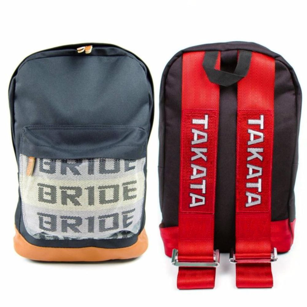 JDM Backpack with red racing harness straps and brown leather bottom