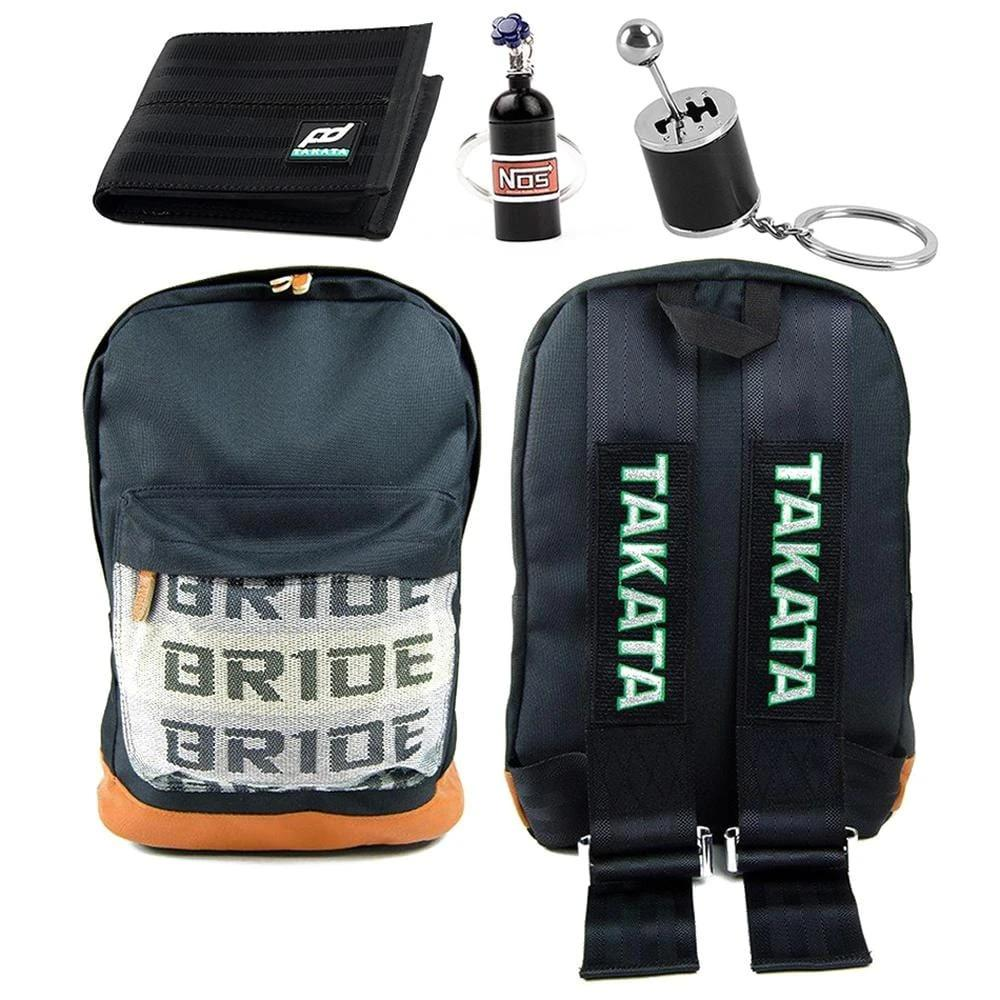 JDM Combo Black - Bride Backpack with Black Racing Harness Straps and brown leather bottom. Racing FD Car Wallet, Gear Shift Keychain, and NOS Bottle keyring in black