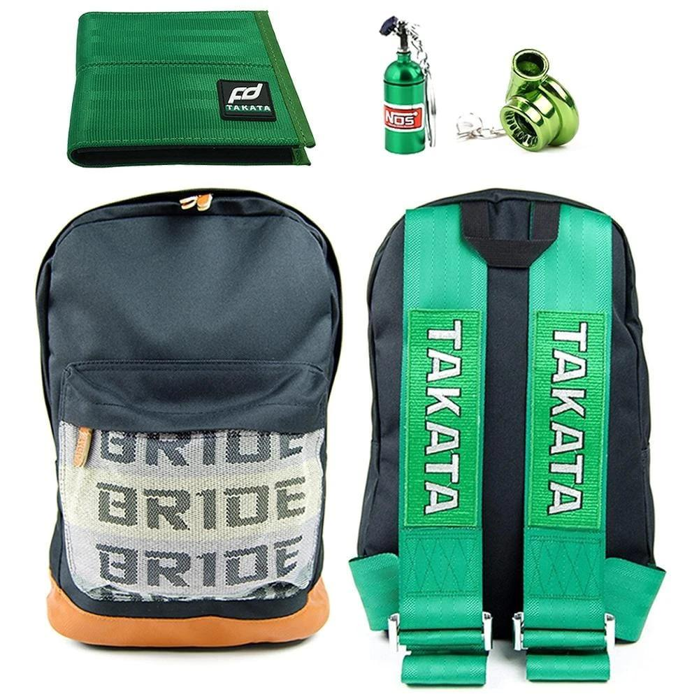 JDM Combo Green - Bride Backpack with Green Racing Harness Straps and brown leather bottom. Racing FD Car Wallet, NOS Bottle keychain, and Turbocharger keyring in green