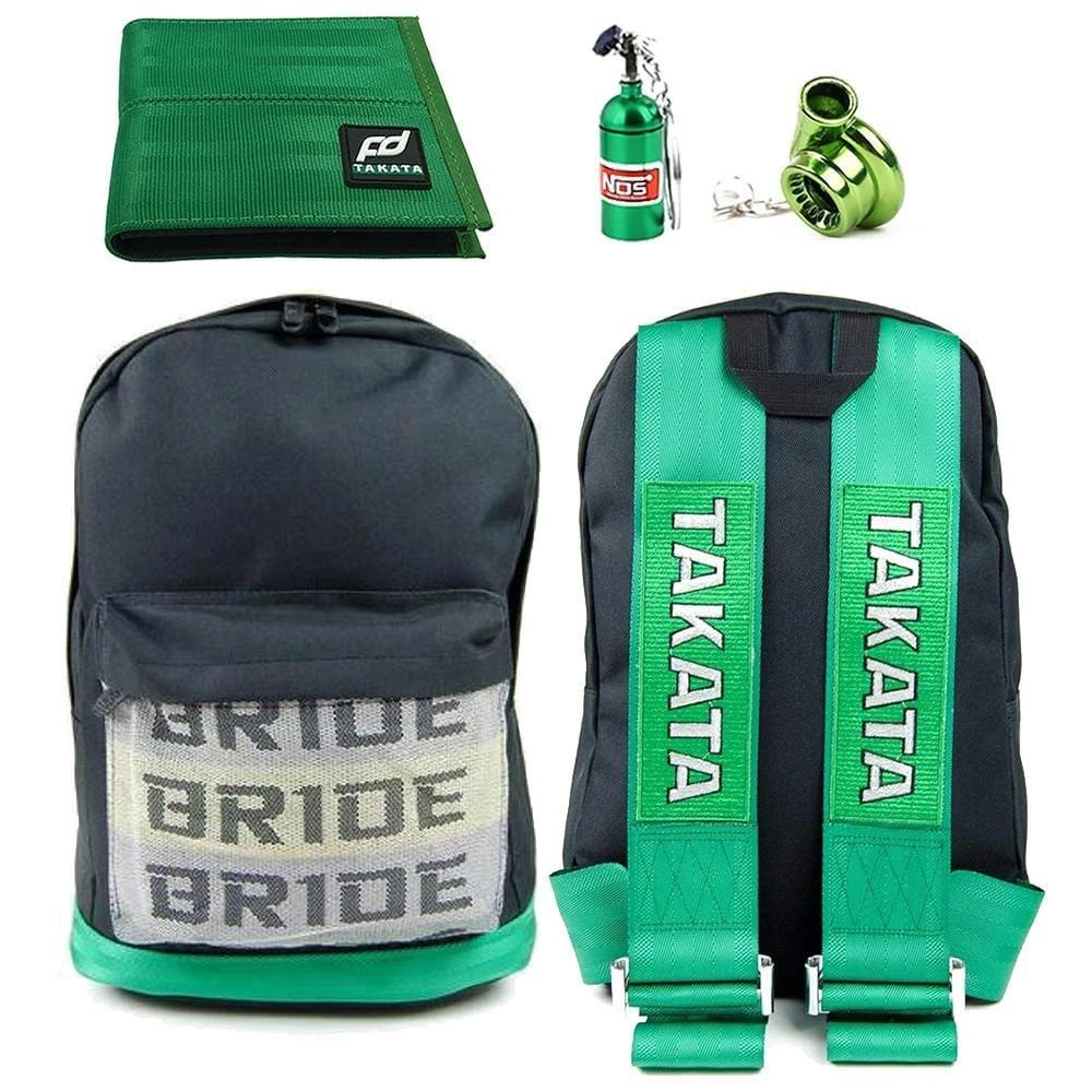 JDM Combo Fully Green - Bride Backpack with Green Racing Harness Straps and green leather bottom. Racing FD Car Wallet, NOS Bottle keychain, and Turbocharger keyring in green