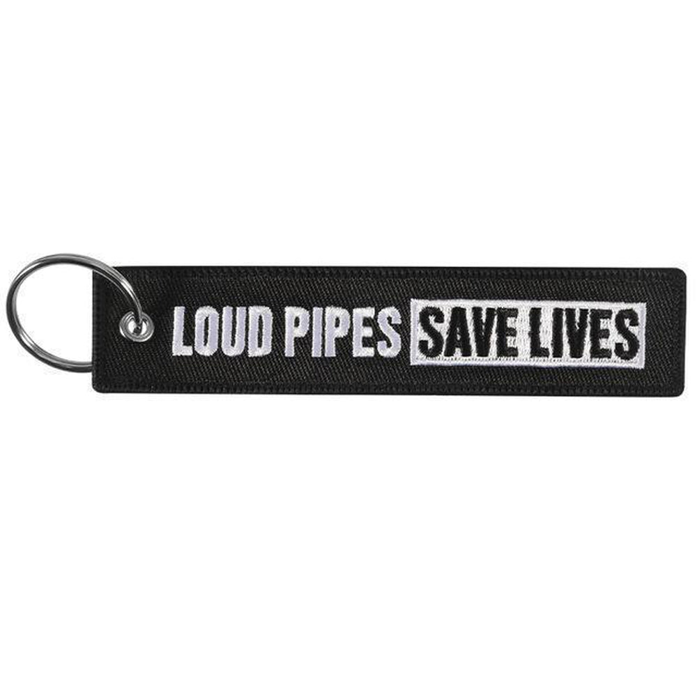 Loud Pipes Save Lives - Car Key Tag - Embroidered on both sides - Car and JDM Accessories