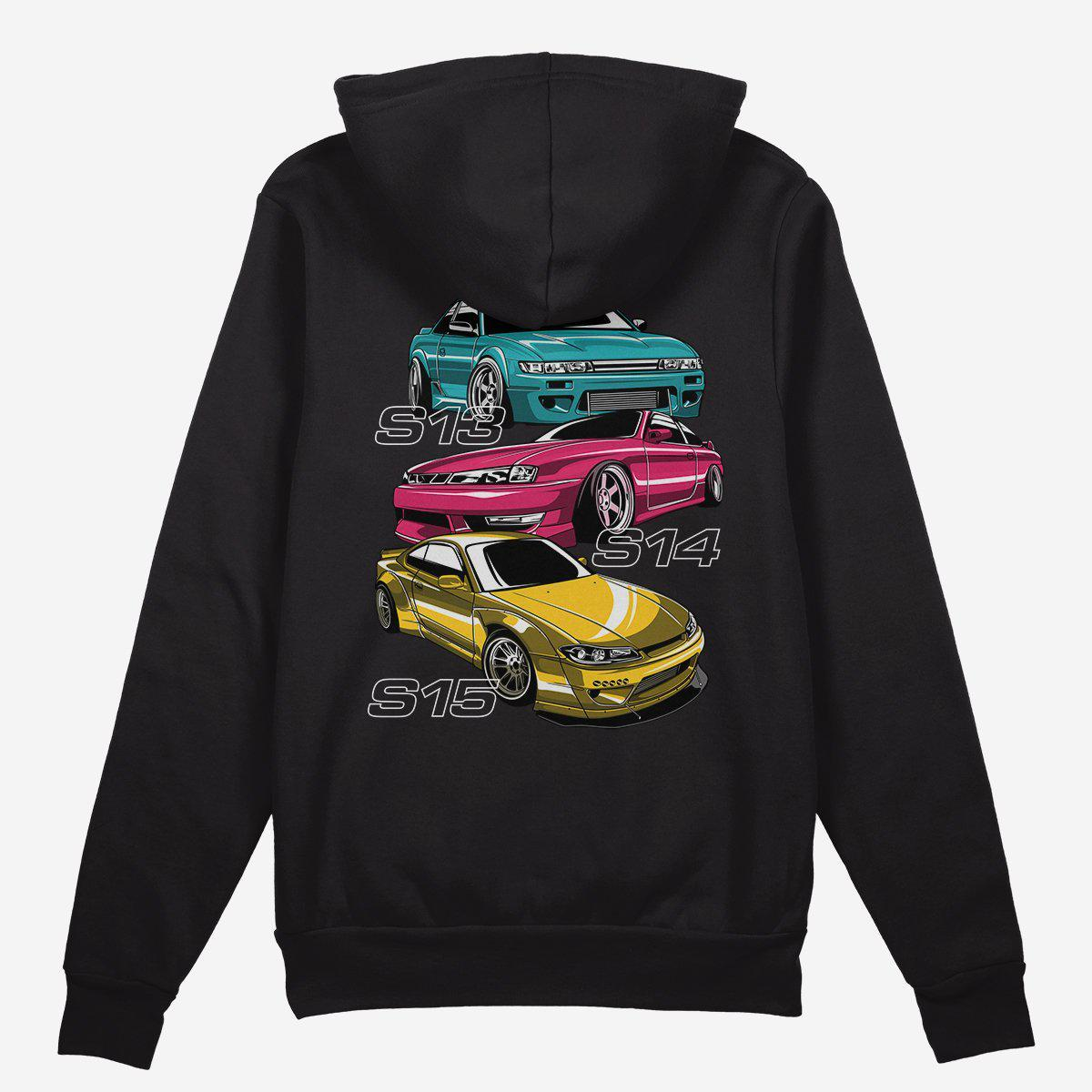 S Chassis Generation Car Hoodie. Nissan Silvia S13, S14, and S15. Black.