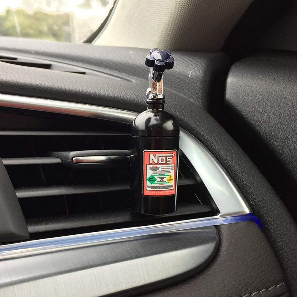 NOS Bottle Car Air Freshener and perfume in black. Lemon, strawberry, grapes, and grapefruit scents.