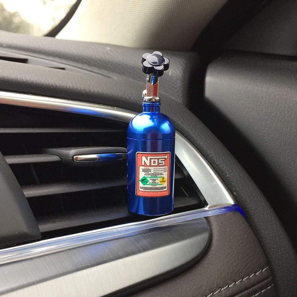NOS Bottle Car Air Freshener and perfume in blue. Lemon, strawberry, grapes, and grapefruit scents.