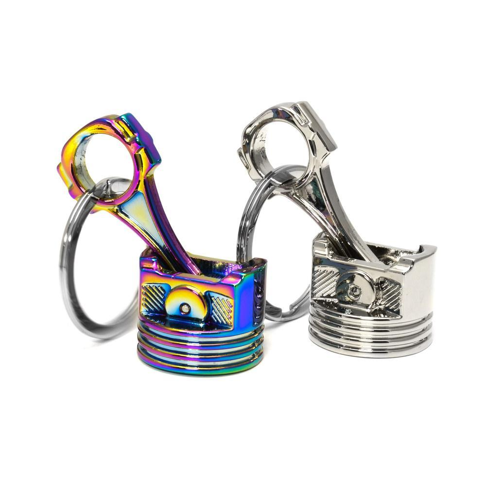 Piston - Car Keychain - finished in silver and neochrome. Small and Big versions.