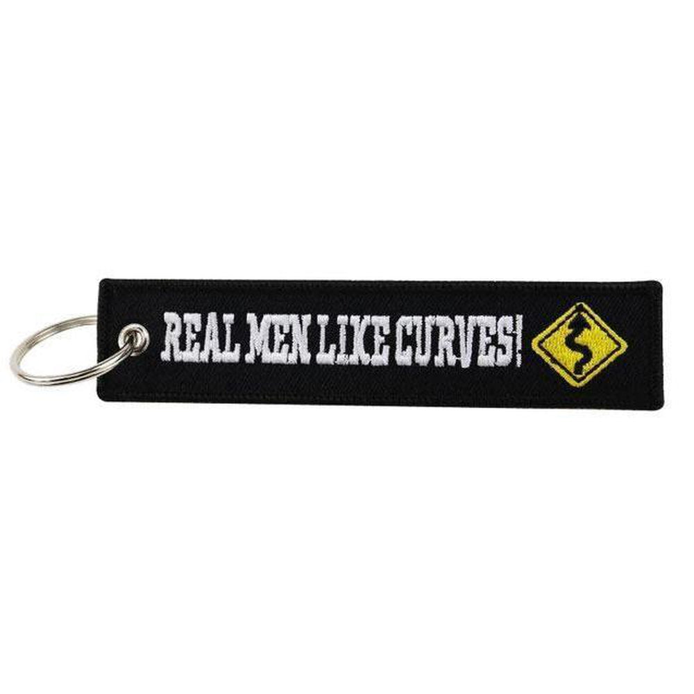 Real Men Like Curves - Car Key Tag - Embroidered on both sides - Car and JDM Accessories