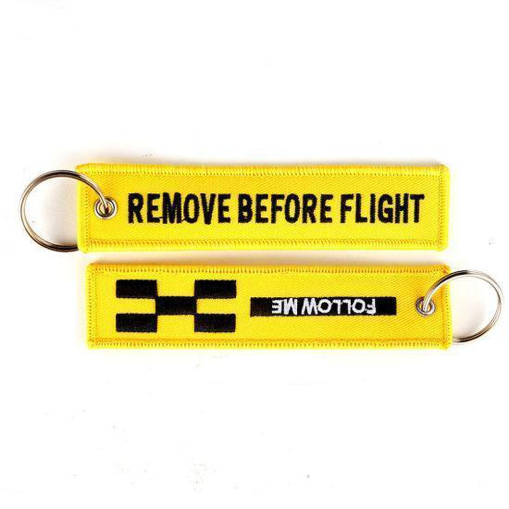 Remove Before Flight Yellow - Car Key Tag - Embroidered on both sides - Car and JDM Accessories