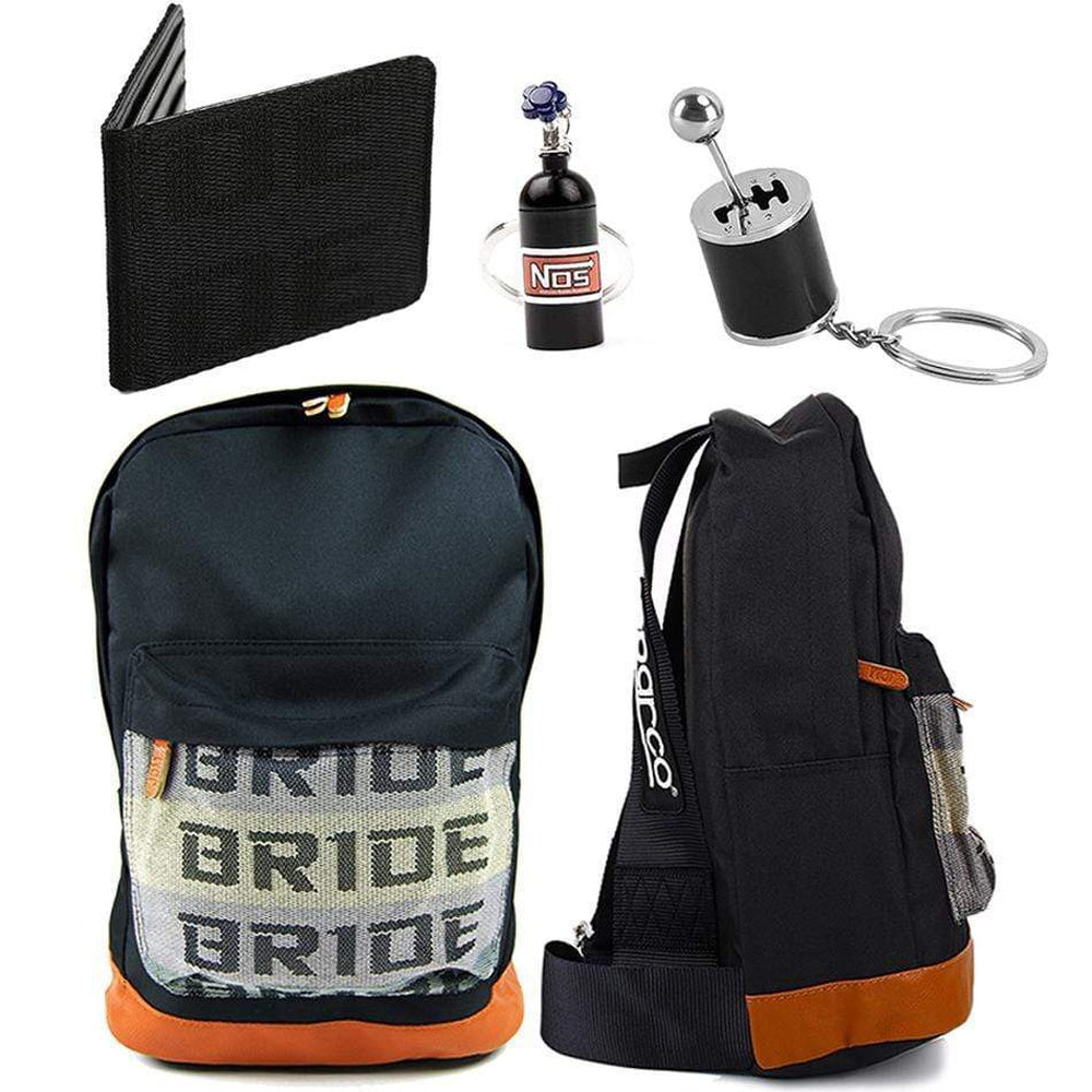 SP Combo Black - Black Racing Harness Straps with brown leather bottom. Bride Racing Car Wallet, Gear Shift Keychain, and NOS Bottle keyring in black