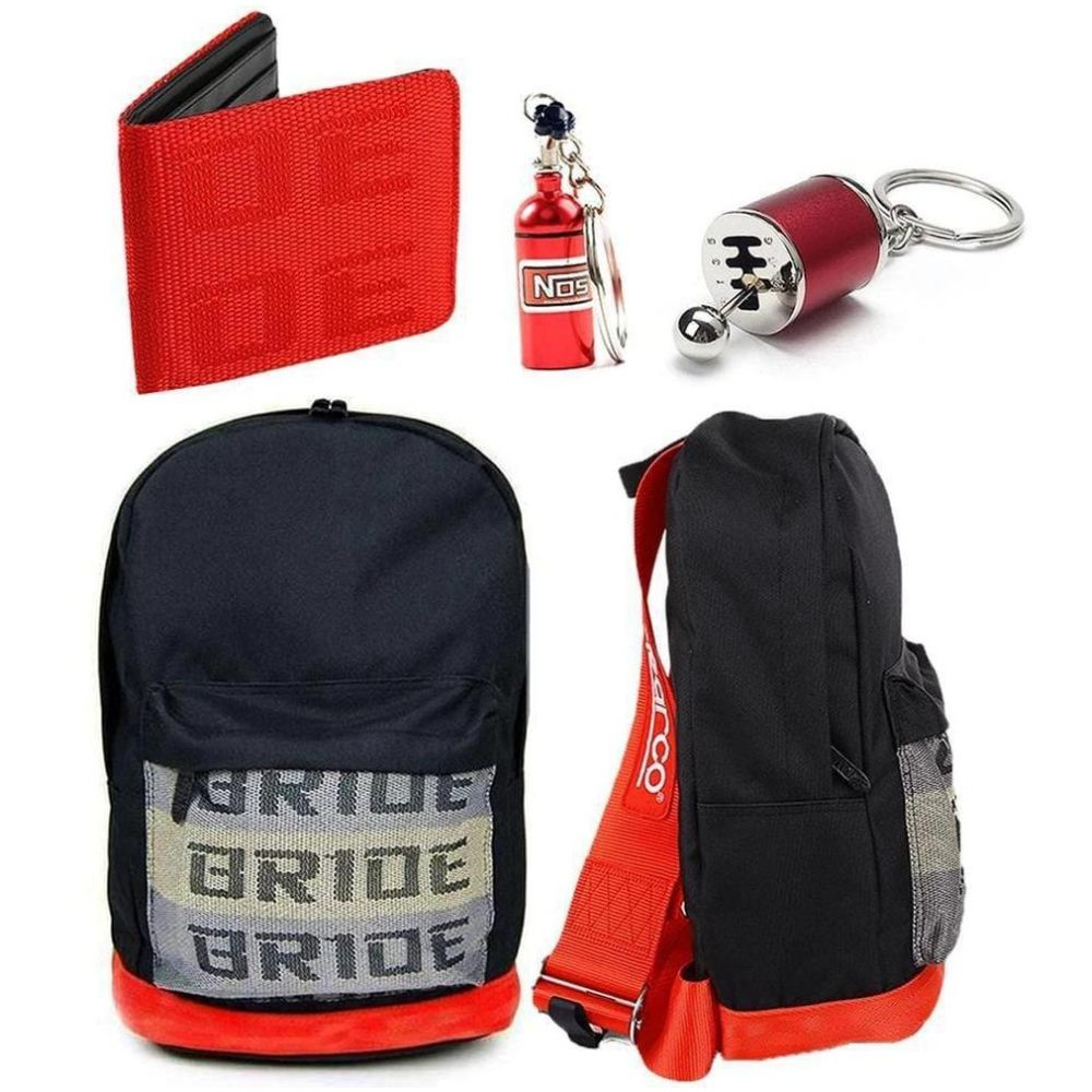 SP Combo Fully Red - Red Racing Harness Straps with red leather bottom. Bride Racing Car Wallet, Gear Shift Keychain, and NOS Bottle keyring in red