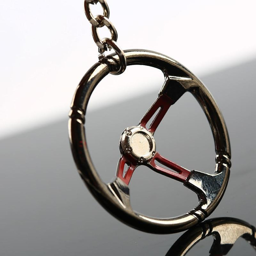 Steering Wheel - Car Keychain - JDM Key Ring -