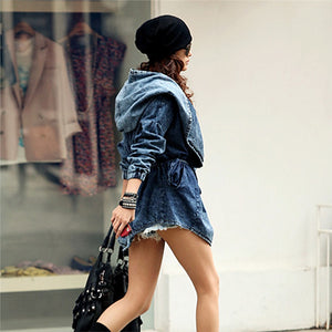 GoodFiller Retro Style Trench Jeans Jacke