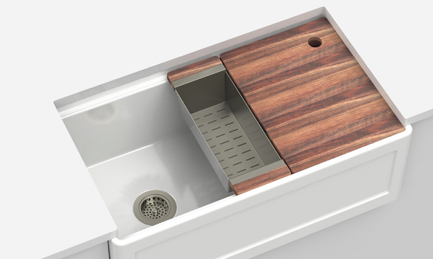 Fira Fireclay Kitchen Sink with Accessory Ledge