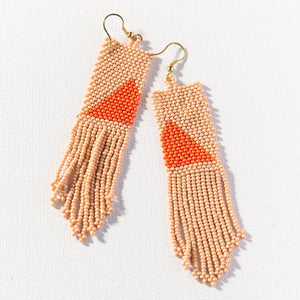 Pink With Orange Triangle Seed Bead Earring