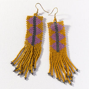 Citron Lilac Triangle Seed Bead Earring