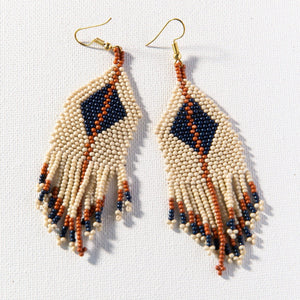 Ivory Navy Rust Diamonf and Stripe Fringe Earring