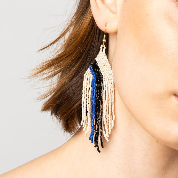 Ivory Lapis And Black Luxe Earring