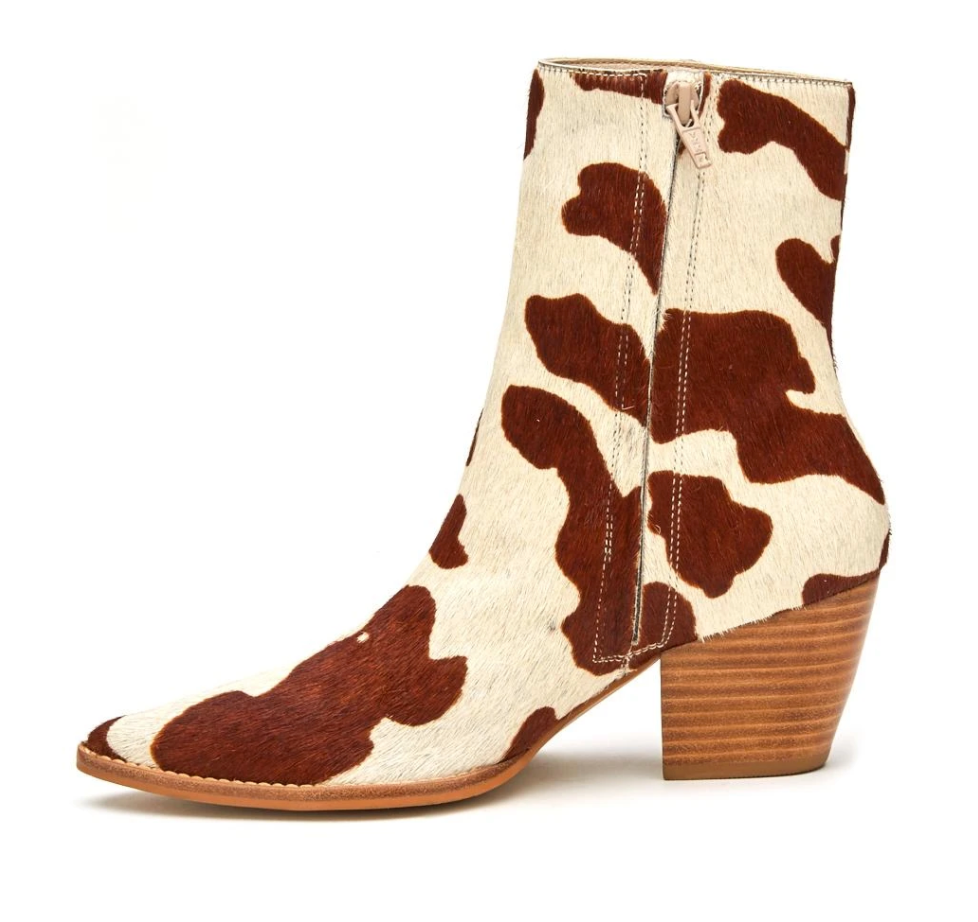 Matisse Caty Leather Bootie Cow Print