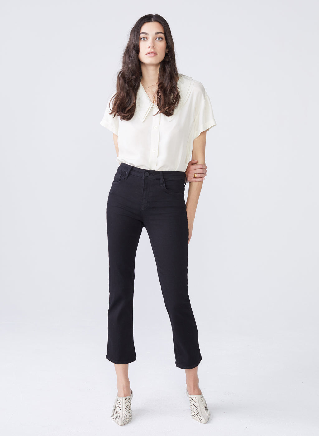 Margaux Cropped Demi Flare Black