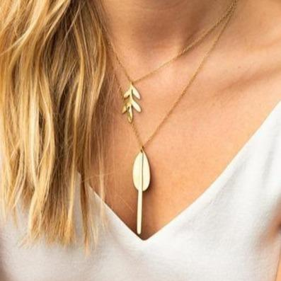 Matte Brass Drop Necklace