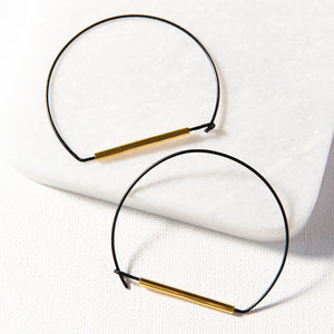 Large Wire Hoop Black And Brass Earring