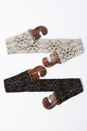 Weekend Beaded Belt White
