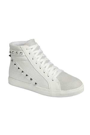Studded high top tennis shoes unique white sneakers lace up boots booties