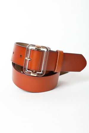 Clear Cut Leather Belt Brown