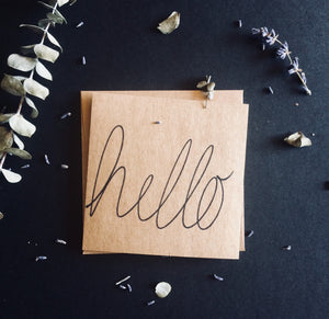 "Hand-Lettered ""Hello"" Card   {Set of two.}"