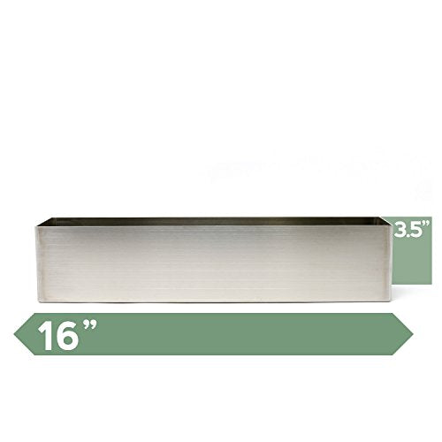 Buhbo Modern Trough Rectangle Planter 16 Inch Brushed Stainless