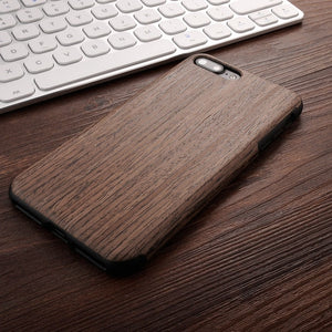 High Quality Soft Silicone Leather Skin Wood Case For iPhone 7 Plus iPhone 8 Case Natural Wooden Back Cover Bag