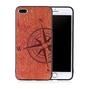 Compass Wood Case For iphone 7 6 6s Plus 7Plus