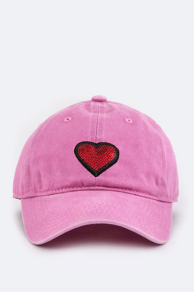 Sequins Heart Patch Cap