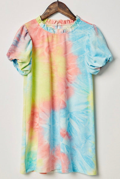 Tie Dye Puff Sleeve Mini Shirt Dress