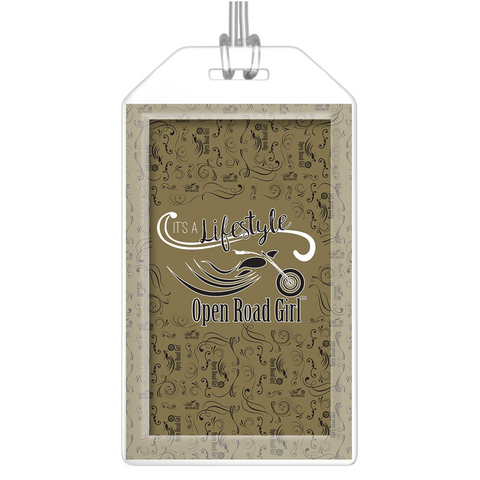 GOLD Open Road Girl Luggage Tags, Set of 2
