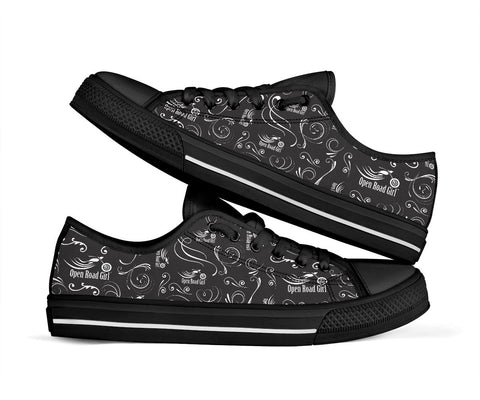 Black on Black Open Road Girl Scatter Canvas Shoes