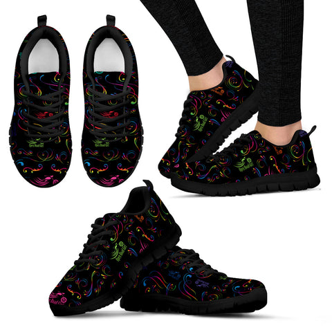 RAINBOW/BLACK SCATTER Open Road Girl Womens Tennis Shoes with Black Soles