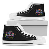 BLACK White Sole Open Road Girl Swirl High Top Canvas Shoe
