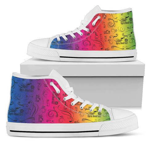 RAINBOW Solid Scatter Design Open Road Girl White Canvas Hi-Top