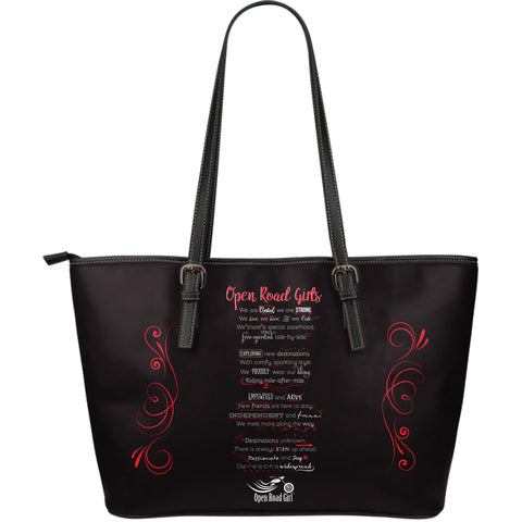 RED OPEN ROAD GIRL MANIFESTO LARGE PU LEATHER TOTE