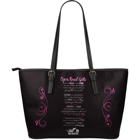 PINK OPEN ROAD GIRL MANIFESTO LARGE PU LEATHER TOTE