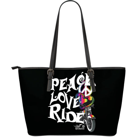 Peace, Love, Ride LARGE PU LEATHER TOTE, 5 COLORS