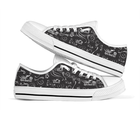 Black on White Open Road Girl Scatter Canvas Shoes