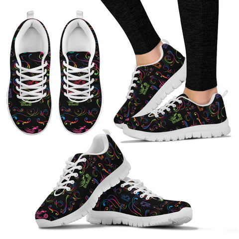 RAINBOW/BLACK SCATTER Open Road Girl Womens Tennis Shoes with White Soles