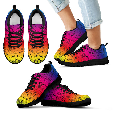 RAINBOW/COLOR SCATTER Open Road Girl CHILDS Tennis Shoes with Black Soles