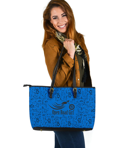 BLUE Scatter Open Road Girl PU Leather Tote