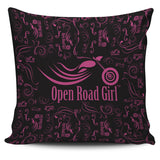 Open Road Girl Premium Poly-cotton Pillow Cover, 9 COLORS