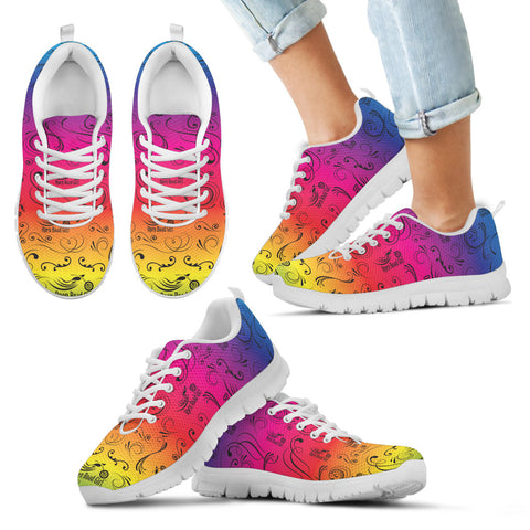 RAINBOW /COLOR SCATTER Open Road GirlCHILDS Tennis Shoes with White Soles