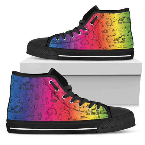 RAINBOW Solid Scatter Canvas Hi-Top