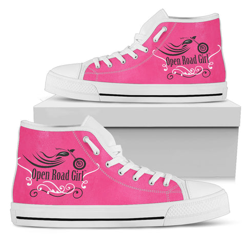 PINK Open Road Girl with Swirls Canvas Hi-Top